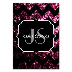 Sold 3 packs to returning customer! Thank you! Beautiful #Pink glitter #sparkles with Chevron and #Monogram Business Card Template by #PLdesign #PinkSparkles #BusinessCard #SparklesGift #SparklesBusinessCard #SparklesChevron #Chevron #ZigZag