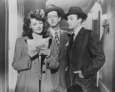 Rita Hayworth, Phil Silvers, Gene Kelly in Cover Girl- one of our very favorite movies. Rita Hayworth, Hollywood Actresses, Old Hollywood, Actors & Actresses, Gene Kelley, Comedy Tonight, Donna Mills, Dance Dreams, Movie Covers