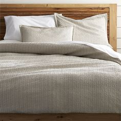Shop Tessa King Duvet Cover.  Tonal taupes highlight the beautiful texture of Tessa's dimensional Jacquard weave.  Woven of spun cotton, the fabric is given an enzyme finish for ultimate softness.