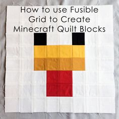 Tutorial: How to Use Fusible Grid to Create Minecraft Quilt Blocks Minecraft Blocks, Hama Beads Minecraft, Minecraft Pixel Art, Cool Minecraft, Minecraft Crafts, Minecraft Party, Minecraft Skins, Minecraft Buildings, Perler Beads