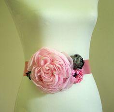 Pink and Gray Bridal Sash Belt - Flower Sash, Wedding Belt for Bride or Bridesmaid