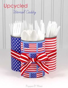 Upcycled Fourth of July Utensil Caddy