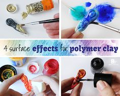 4 amazing surface effects (Glass, Ceramic, Metal) ~ Polymer Clay Tutorials Polymer Clay Kunst, Sculpey Clay, Polymer Clay Projects, Polymer Clay Beads, How To Make Silicone, Biscuit, Color Crafts, Clay Ornaments, Clay Design