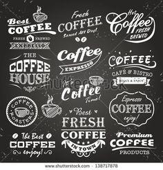 set of vintage retro coffee labels on chalkboard coffee decoration