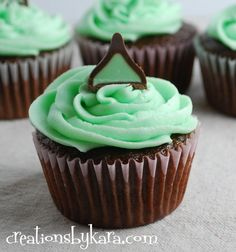 Mint chocolate filled cupcakes with mint cream cheese icing - I made these and they are amazing!