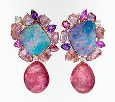 Margot McKinney Earrings with #tourmaline and #opal