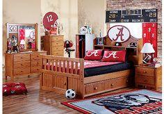 University of Alabama bedroom. Similar to Jesse & Jake's room Disney Furniture, Kids Room Furniture, Bedroom Furniture Stores, Rooms To Go Kids, Cool Kids Rooms, Teen Bedroom Sets, Kids Bedroom, Bedroom Ideas, Bedroom Decor