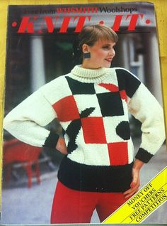 Knit It magazine by WHSmith Wool Shops (1986) featuring a very 80s sweater/jumper!
