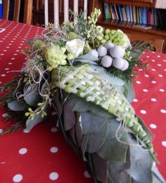 bloemschikken december 2014  vlecht met berengras