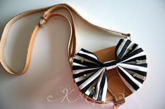 Mommy or Children Handmade Tan Genuine Greek Leather Mini-Bag, Cross Body, Clutch, Satchel with Big Black&White Striped Bow and Gold Studs. for janeypants