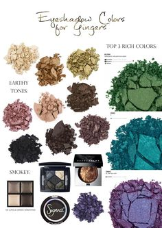 Makeup tips for #gingers / red heads - Complementary Eyeshadow Colors