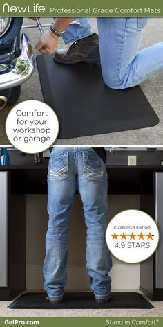 NewLife Professional Grade Comfort Mats by GelPro are a must-have item for your workshop or garage. Save your feet and back while you're working on your car! Stand in comfort.