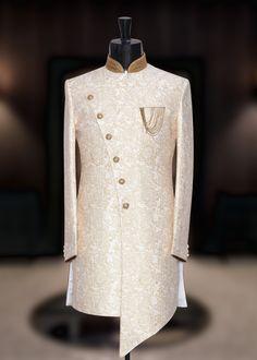 Off White Jamawar Prince Suit Sherwani For Men Wedding, Wedding Dresses Men Indian, Sherwani Groom, Wedding Dress Men, Dresses To Wear To A Wedding, Nigerian Men Fashion, Indian Men Fashion, Mens Fashion Wear, Mens Indian Wear