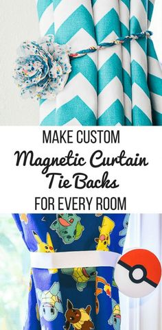 How to Make Magnetic Curtain Tie Backs Give your curtains a whole new look with these magnetic curtain tie backs! Easy to make and customize to your decor. Great for kids rooms and renters too! Diy Home Decor On A Budget, Diy Home Decor Projects, Easy Home Decor, Handmade Home Decor, Easy Diy Projects, Cheap Home Decor, Apartment Projects, Magnetic Curtain Tie Backs, Curtain Tie Backs Diy