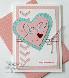 handmade Valentine's Day caard in soft pinka and blue . luv the negative space chevron border shoing the polka do mat layer below . Scrapbooking, Scrapbook Cards, Valentine Love Cards, Copics, Card Tags, Creative Cards, Homemade Cards, Stampin Up Cards, Paper Crafting