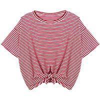 b11e45e1a38c5 Women Teen Girls Striped Cute Crop Top Tie up Knot Belly Shirt Summer Tee T- Shirt Blouse Sale Clearance