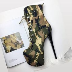 """ed1e673d0d0 High Heel Shoes Made in Turkey on Instagram  """"Charming Camouflage Steps🍃🖤 Discover  our special Boots Collection Worldwide Free Shipping Sizes Between US3 ..."""