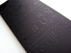 Monochromatic (black ink on matte black paper) THERMOGRAPHY PRINTED wedding invitations / repinned on Toby Designs