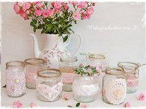 9 Windlichter rosa Hochzeitsdeko Vintage Shabby