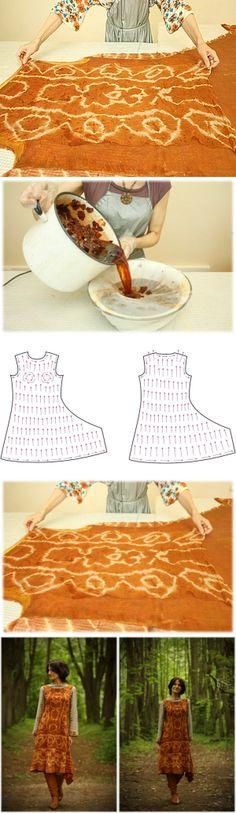 Onion story: dyeing and felting silk sundress...♥ Deniz ♥