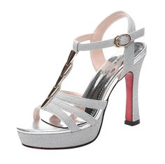 T and Mates Women's Sexy T-Strap Ankle-Strap Buckle High Heel Dress Sandals *** Additional details at the pin image, click it : Hiking sandals Dress Sandals, Heeled Sandals, Hiking Sandals, Silver Sandals, Platform High Heels, Ankle Straps, T Strap, Beautiful Shoes, Open Toe