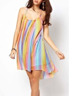 Lively Neon Striped High Low Open Back Chiffon Dress on sale only US$19.80 now, buy cheap Lively Neon Striped High Low Open Back Chiffon Dress at martofchina.com