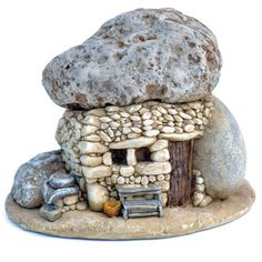 Stone Troll House with Bench