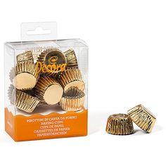 Verpacke deine selbst gemachten Pralinen oder sonstige Süssigkeiten in diesen gold glänzenden Papierbackförmchen.   Inhalt: Decora mini Cupcake/ Praline Förmchen Gold, 180 Stück
