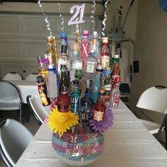 BEST 21st Birthday GIFT!!! Best 21st Birthday Gifts, 21st Birthday Basket, Birthday Hampers, 21 Birthday, Birthday Stuff, Birthday Ideas, Birthday Parties, Alcohol Bouquet, Liquor Bouquet