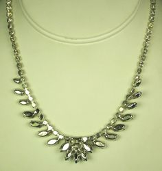30% off Sale until 11/21/15 A unique #vintage rhinestone and #black glass #necklace from B. David.  This breathtaking piece of costume jewelry is crafted from a rhodium plated metal foundation which form... #diamonds #gold #rings #white #choker #judysgems2 #teamlove #christmas #prom #wedding #present #women