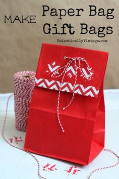Want to learn how to make gift bags out of brown paper bags? Personalize them with bits of scrapbook paper, paper punches and a bit of baker's twine.