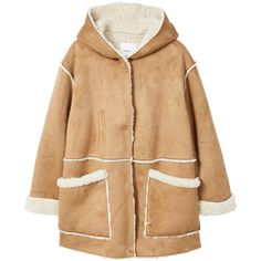 Faux Shearling-Lined Coat ($105) ❤ liked on Polyvore featuring outerwear, coats, sherpa coat, hooded faux shearling coat, long sleeve coat, beige coat and faux-shearling coats
