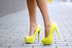 Bright yellow suede pump