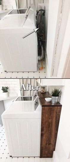 home renovation on a budget - home renovation ; home renovation on a budget ; home renovation before and after ; home renovation ideas ; home renovation diy ; home renovation o Laundry Room Remodel, Laundry In Bathroom, Laundry Decor, Laundry Area, Small Laundry Rooms, Laundry Closet, Kitchen Remodel, Basement Laundry, Laundry Room Organization