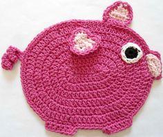 Oink Oink ... cute lil piggy potholder: free pattern