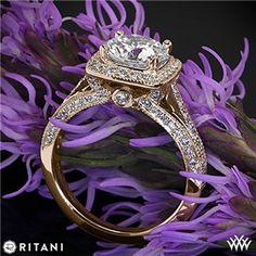18k Rose Gold Ritani 1RZ3154 Masterwork Cushion Halo Vaulted Milgrain Diamond…