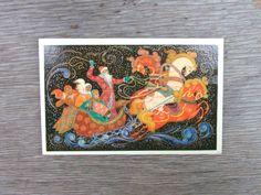 Unsigned Vintage USSR Soviet Union New Year postcard Russian troika Christmas Greeting Card Memorabilia  1974, 70, Troika, Santa Claus