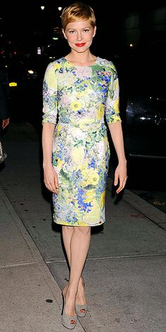 Michelle Willaims in a spring-ready floral Erdem sheath