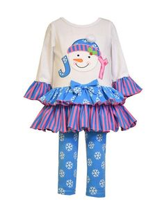 Tunic Top and Ruffled Pant Set Heart Trio Applique Ruffled Empire Tunic Top Special Occasion
