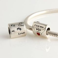 Red Love Me Charm 925 Silver Pandora Compatible - Soufeel