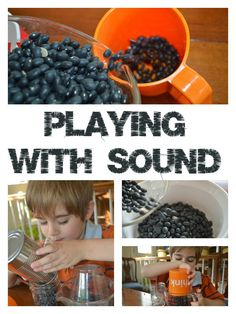 Ideas to explore with your child to observe different sounds that objects create.