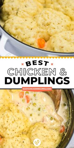Chicken and dumplings are a wonderful traditional family meal. Light and fluffy biscuits topping a creamy and flavorful chicken soup makes for a comforting meal that everyone will love. Creamy Chicken And Dumplings, Chicken Dumpling Soup, Homemade Dumplings, Dumplings For Soup, Chicken And Biscuits, Dumpling Recipe, Cooked Chicken, Butter Chicken, Lemon Chicken