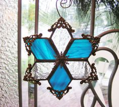 Icy and Blue Snowflake Ornament by MoreThanColors on Etsy