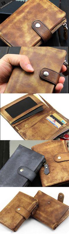 Handmade men short leather wallet men vintage navy brown short wallet for him