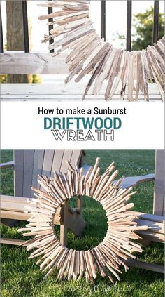 Make a stunning large sunburst driftwood wreath with this step-by-step tutorial. A beautiful rustic home decor or cottage decor idea. // Sustain My Craft Habit Driftwood Wreath, Driftwood Projects, Driftwood Art, Diy Projects, Driftwood Ideas, Recycling Projects, Coastal Decor, Rustic Decor, Coastal Cottage
