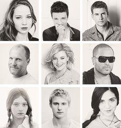 katniss,peeta,gale,haymitch,eiffie, cinna, prim, cato,clove