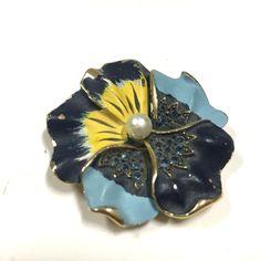 Vintage Signed KRAMER Enamel Rhinestone Pansy Flower Brooch Pin Gold  Available At Dellagraces Vintage Jewelry on Ebay  #Kramer