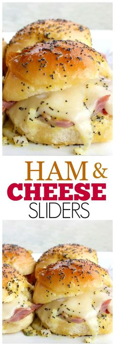 Ham and Cheese Sliders - easy and crowd. Ham and Cheese Sliders - easy and crowd pleasing sandwiches. Snacks Für Party, Appetizers For Party, Appetizer Recipes, Cheese Appetizers, Crowd Appetizers, Cheese Snacks, Cheese Party, Christmas Appetizers, Savory Snacks