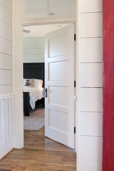 Interesting Trustile Doors For Modern Home Door Design: White Wood Panel Trustile Doors For Cool Bedroom Door Design