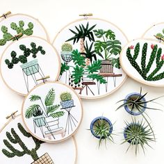 Plant embroideries by Sarah K. Benning